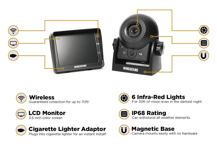 """Wireless Hitch Camera System with 3.5"""" LCD Monitor and Waterproof Camera"""