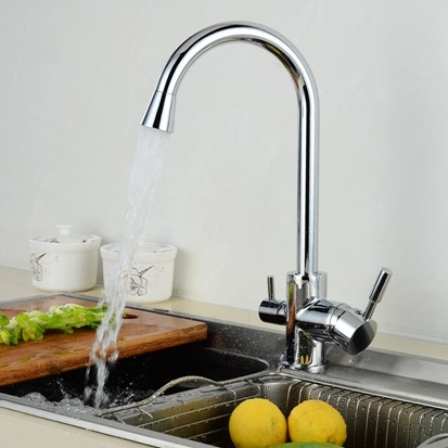 FLG Chrome 3 Way Tap Kitchen Sink Faucet Water Drinking
