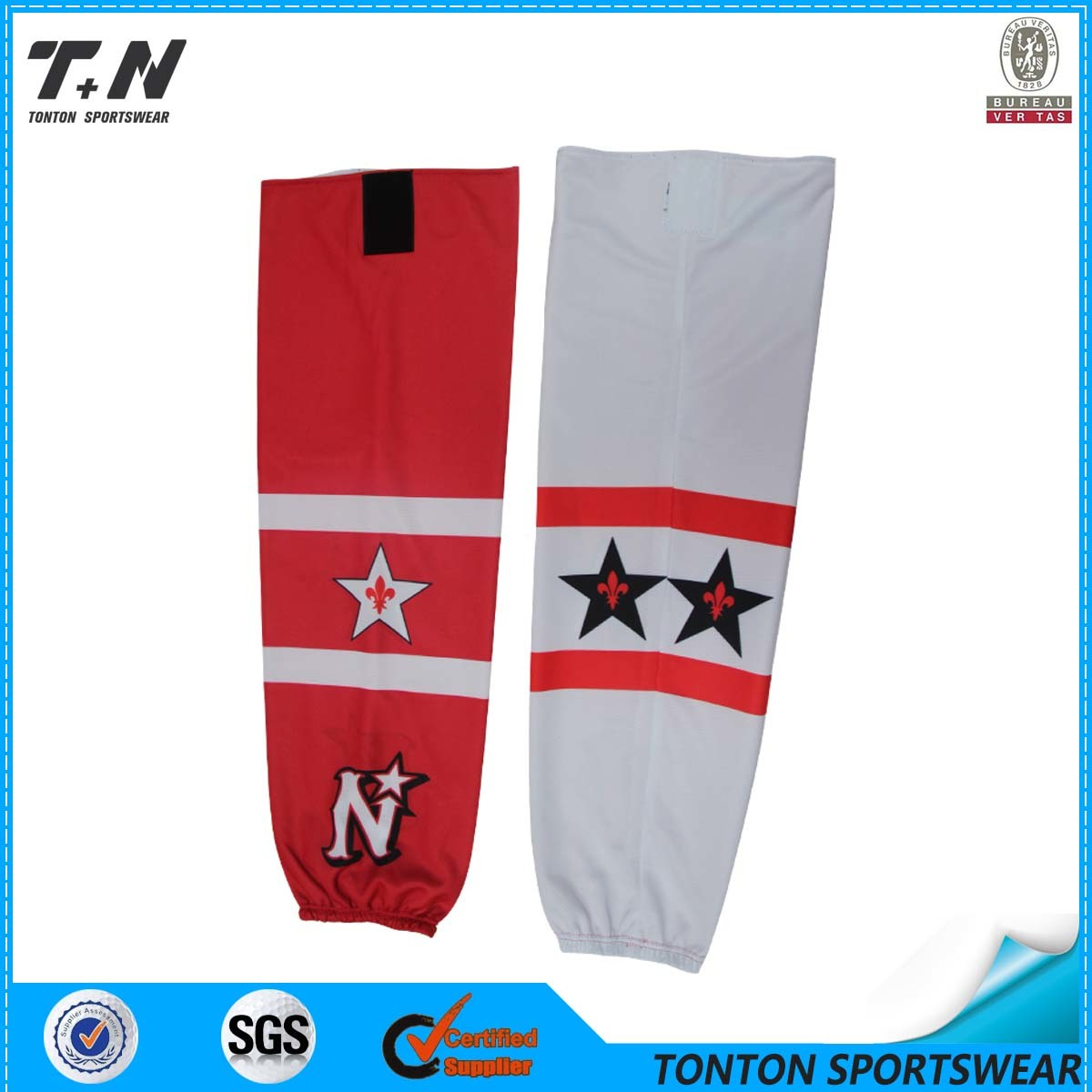Red and White 2015 New Sublimated Ice Hockey Socks for Selling