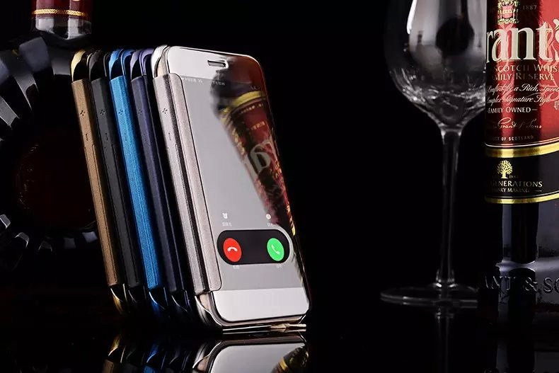Deluxe Window Clean View Mirror PU Flip Leather PC Case for iPhone 6 6s 6plus
