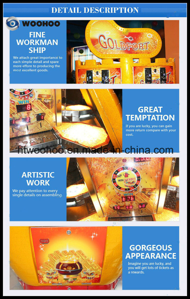 Gold Fort Coin Operated Amusement Park Coin Pusher Indoor Game Machine