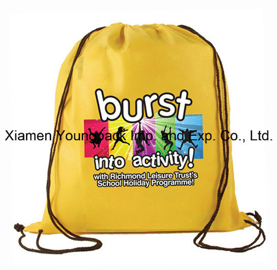 Digital Logo Printed Non-Woven Custom Drawstring Bag for Promotional