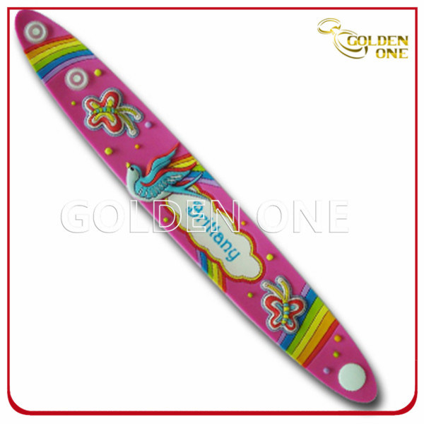 Assorted Colors Personalized Screen Printing Silicone Slap Wrap Wristband