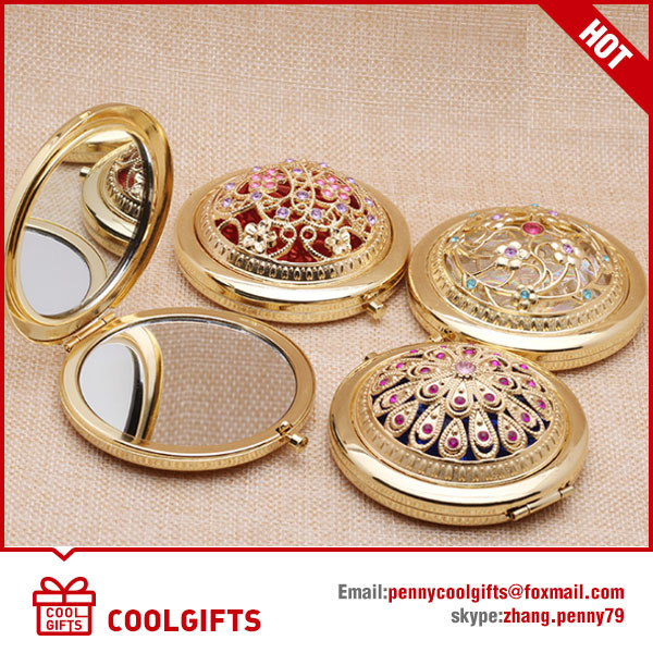 Folding Double Side Silvery Compact Rectangle Makeup Mirror for Ladies