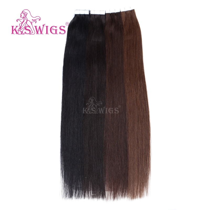 K. S Wigs Top Grade Remy Indian Human Hair Tape Hair Extensions