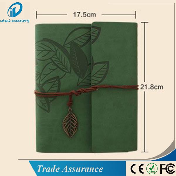 Leaf Pattern Leather DIY Cardboard Photo Picture Album Scrapbook
