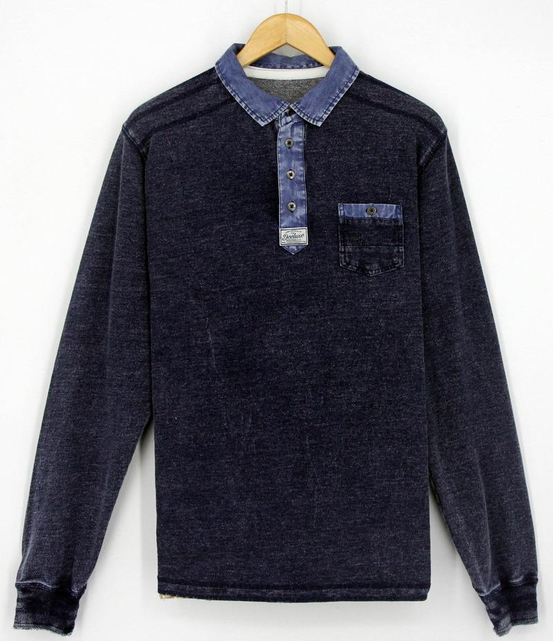 2017 Men Cotton Knitting Denim Washing Long Sleeve Polo Shirts