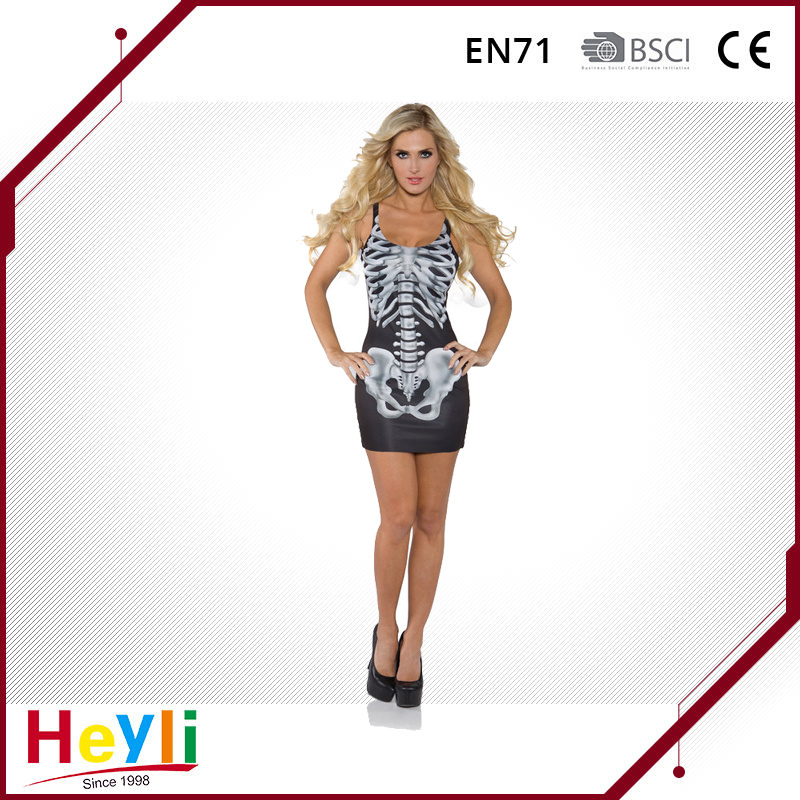 Sexy Halloween Party Skeleton Tank Dress for Women Girls