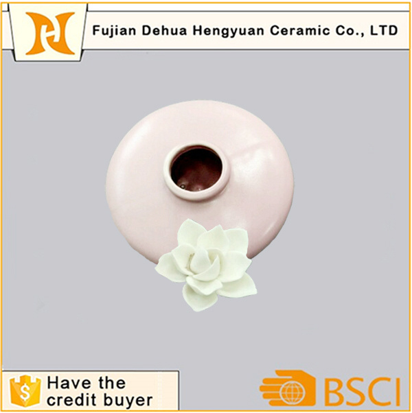 Pink Ceramic Empty Perfume Bottle with Flower Stopper