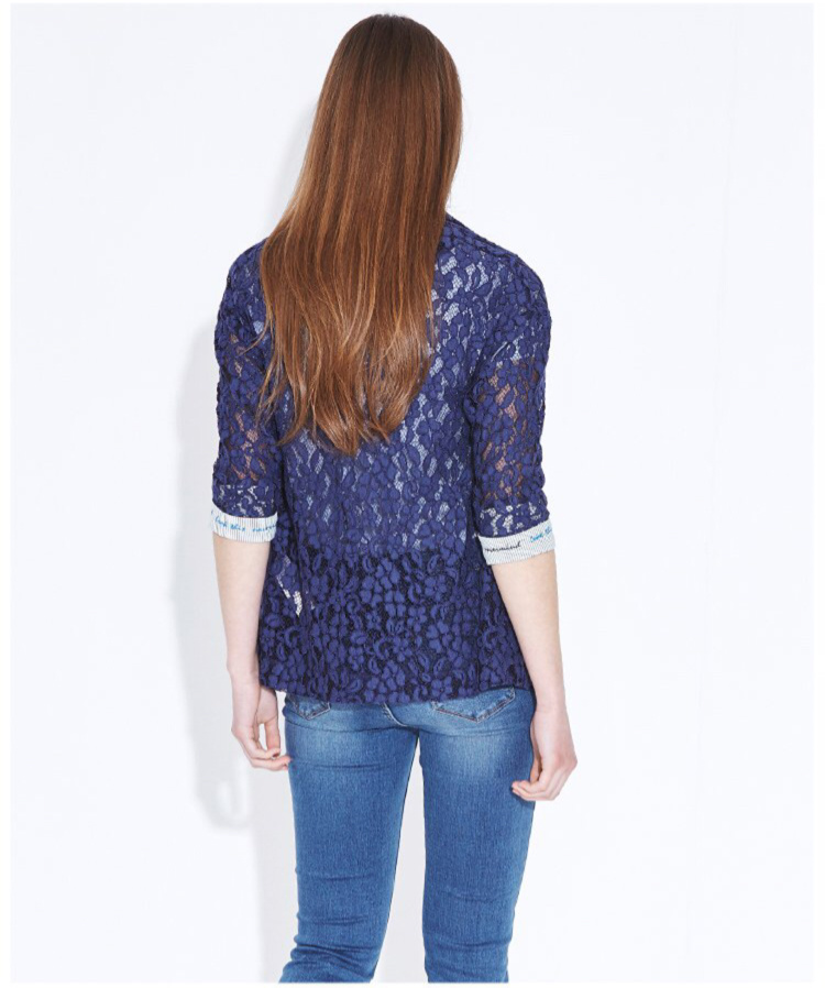 Spring Lace Elegant Jacquard Button Ladies Thin Jacket