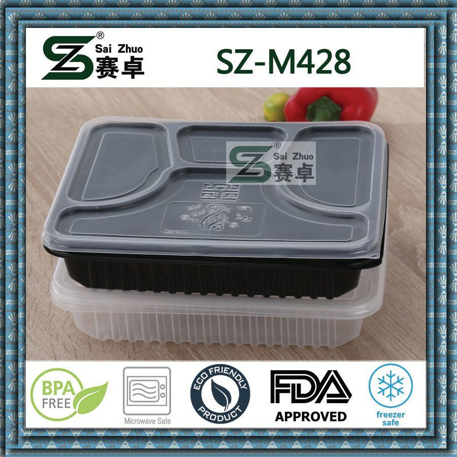 4 Compartment Luxury PP Disposable Plastic Food Storage Box