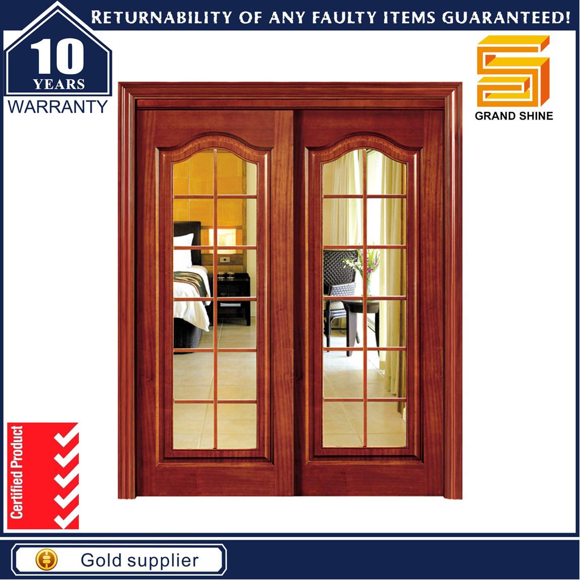 Solid Wooden Double Panel Fiberglass Modern Interior Wood Door