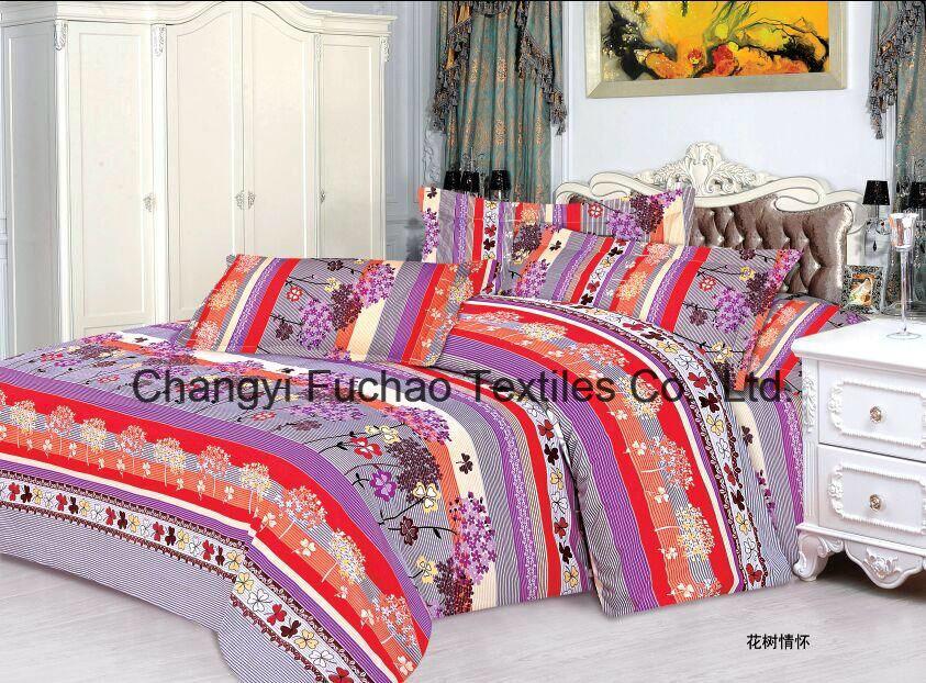 100% Polyester Microfiber Plain Dyed Cheap Bed Sheet Set Bedding Set