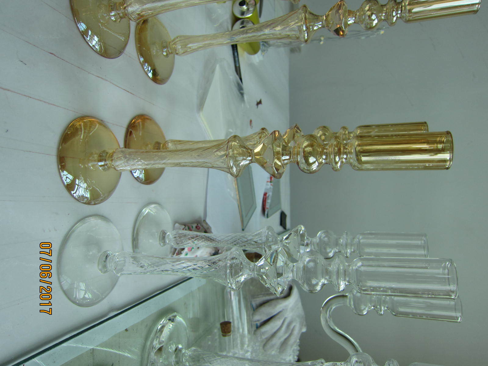 Metallic Gold Color Glass Candle Holder with Single Poster