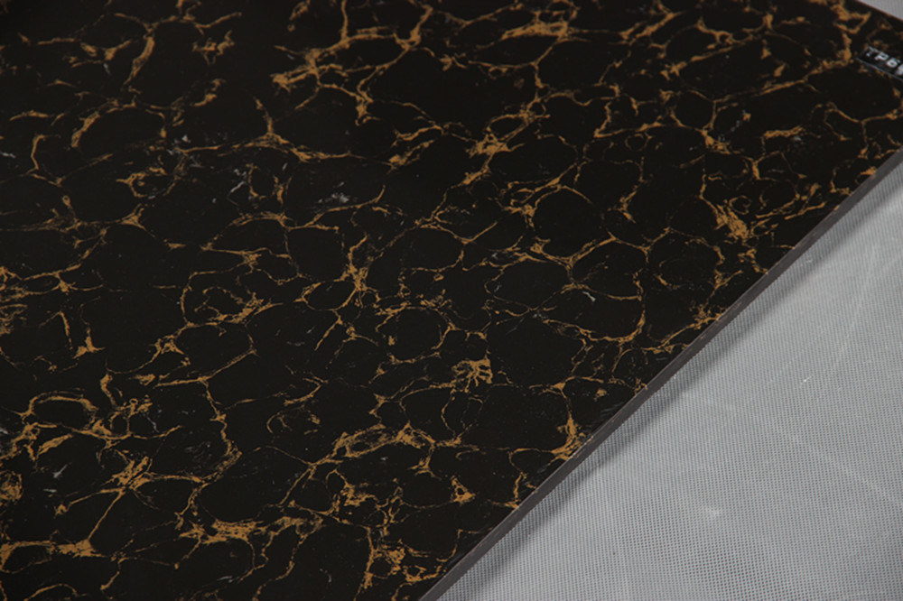 Building Material Double Loading Black Yellow Pulati Polished Porcelain Tile Vitrified Floor Tile Good Price