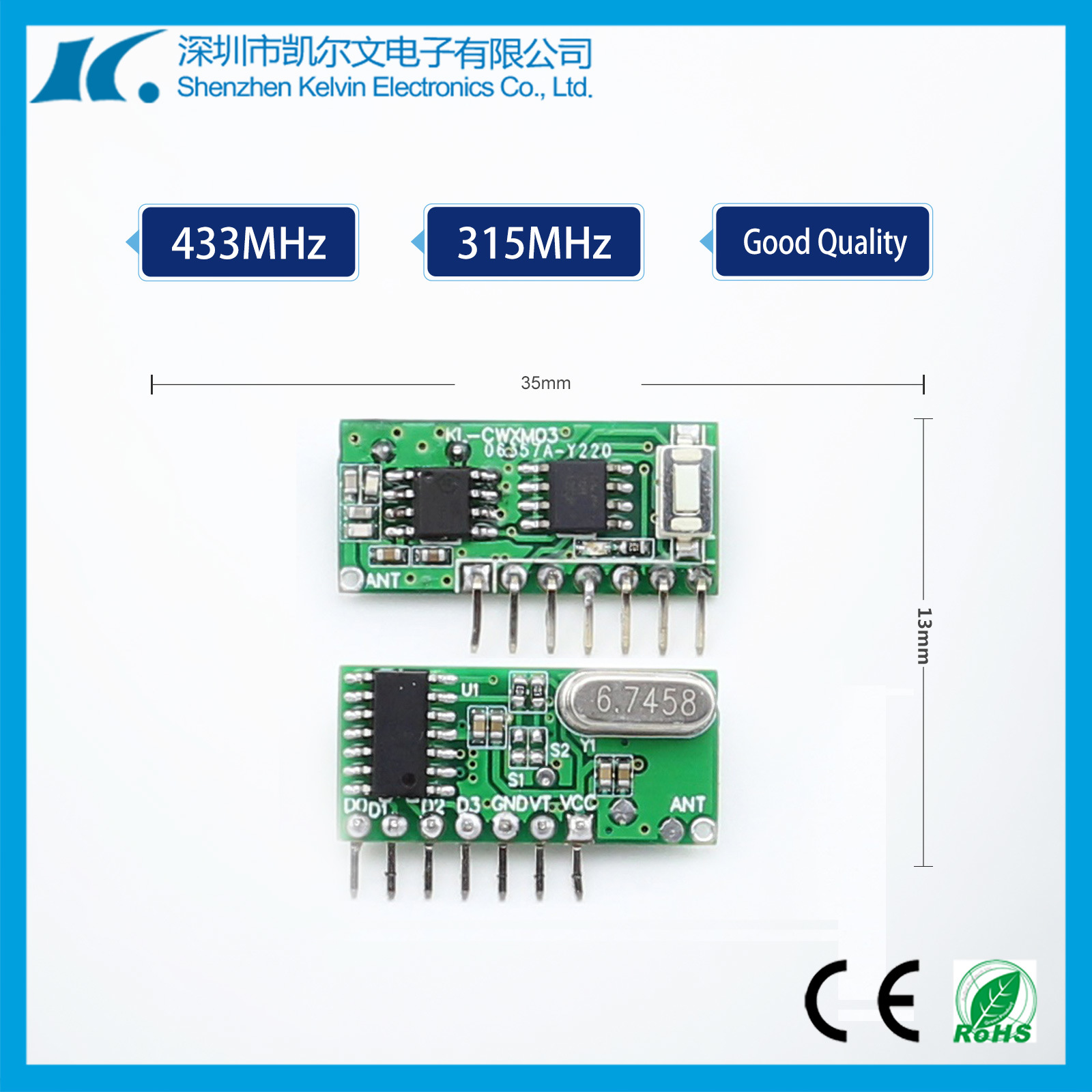 High Sensitivity 315/433MHz RF Mudule PCB Board receiver Kl-Cwxm03