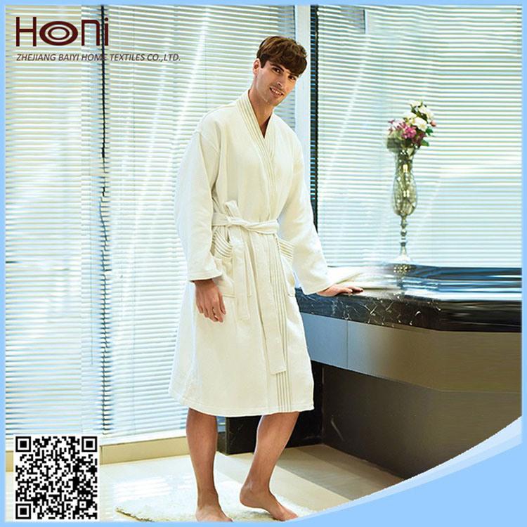 High Quality Men Wholesale 100% Cotton Waffle Hotel Bathrobe