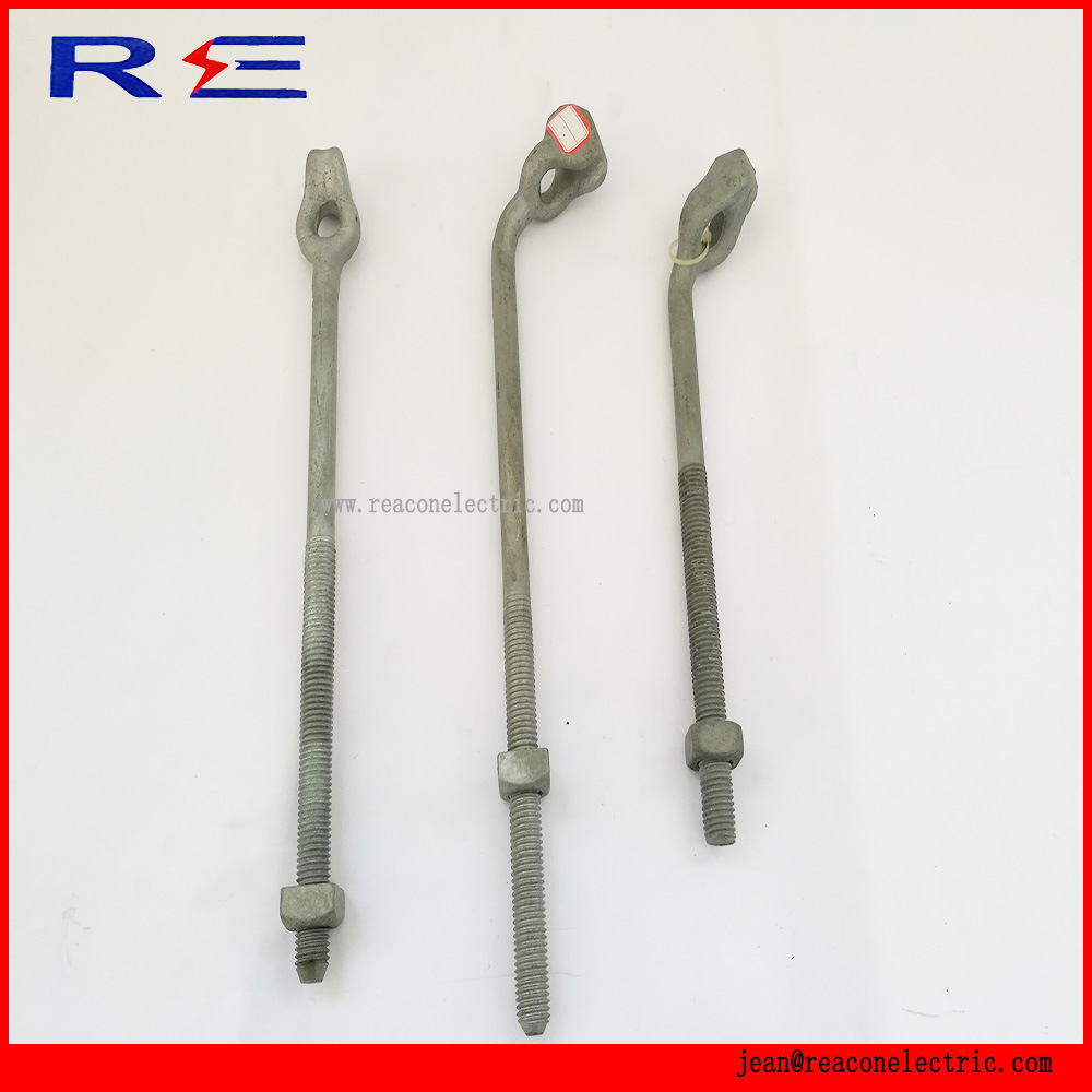 Galvanized Steel Thimble Twin Triple Eye Anchor Rods for Pole Line Hardware