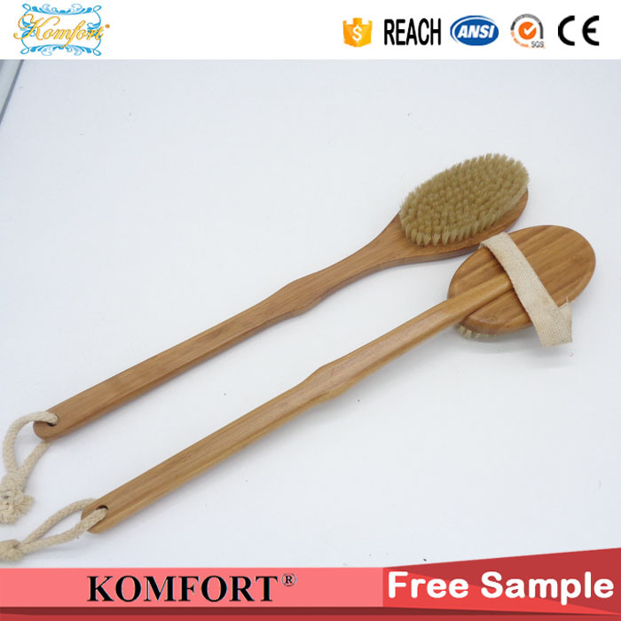 Natural Boar Bristles Dry Body Bamboo Back Scrubber SPA Brush for Skin