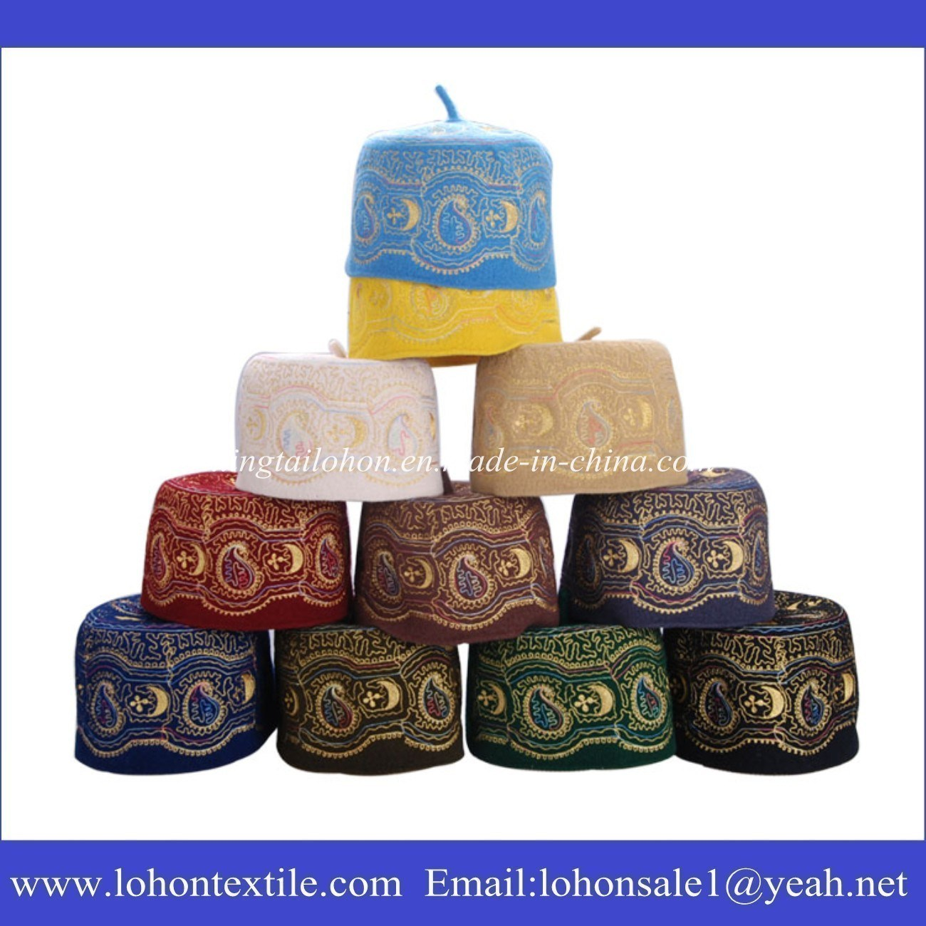 Islamic Hat Arab Turban Muslim Hat Made of Wool Felt Material Embroideried