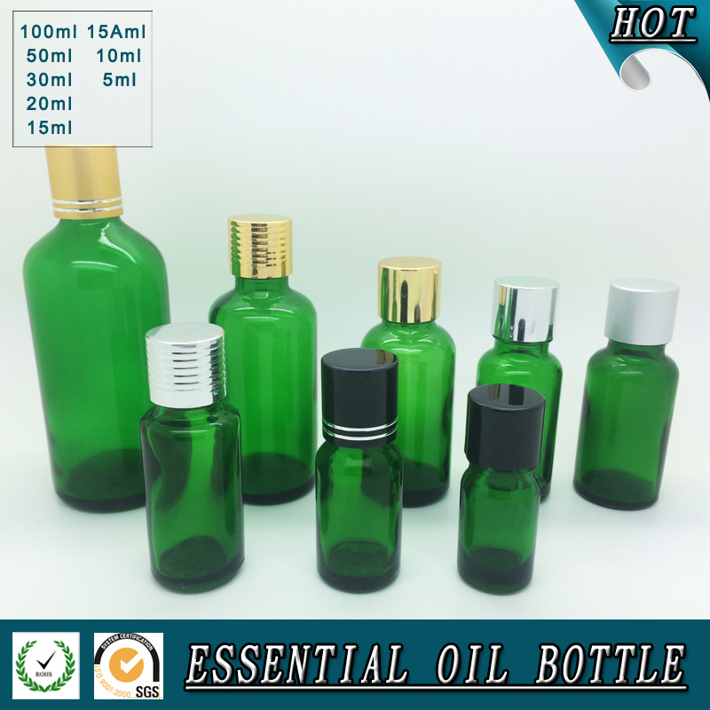 Wholesale Green Glass Essential Oil Bottle with Press Pump Dropper