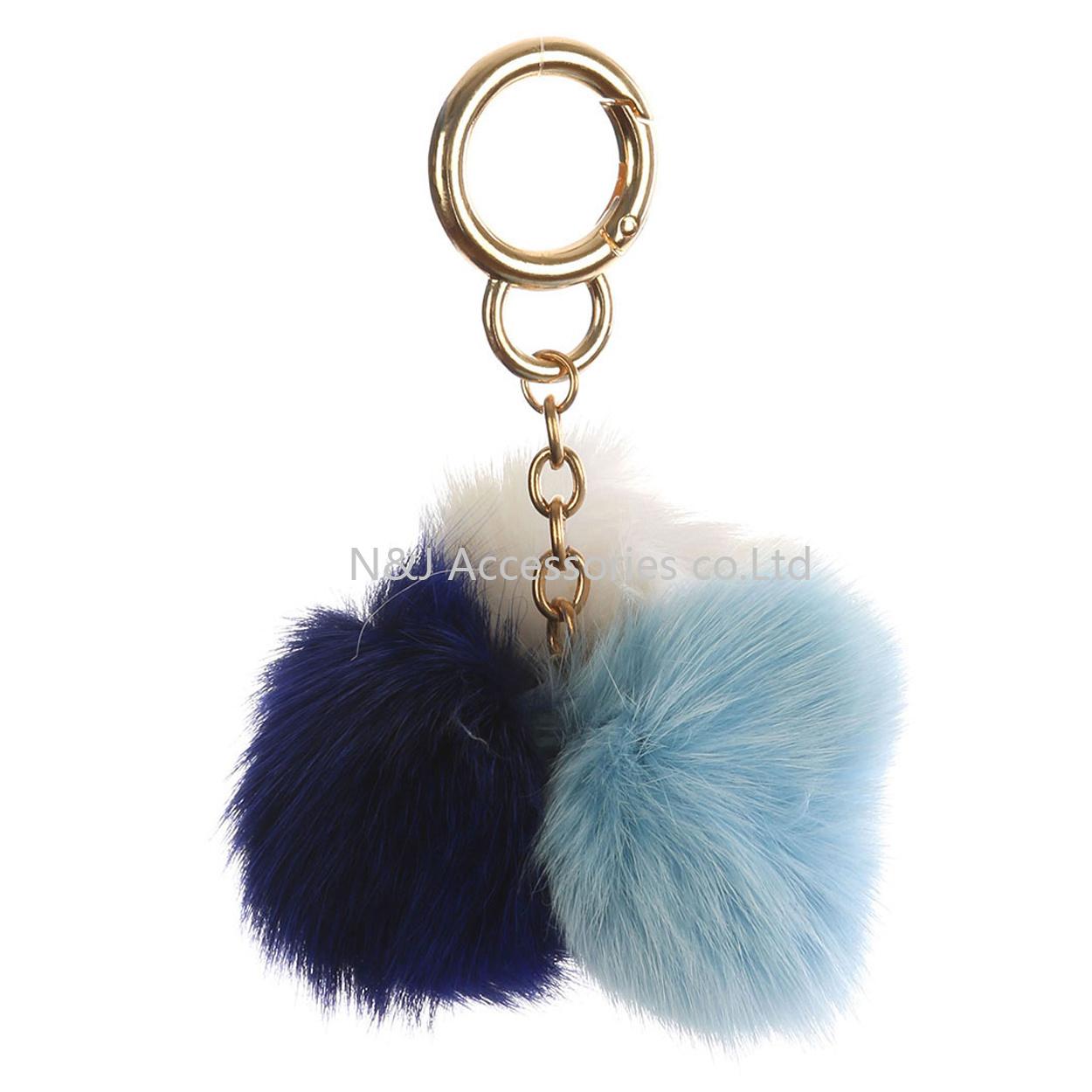 Faux Fur Pompom Bag Accessory Multi Color Key Chain
