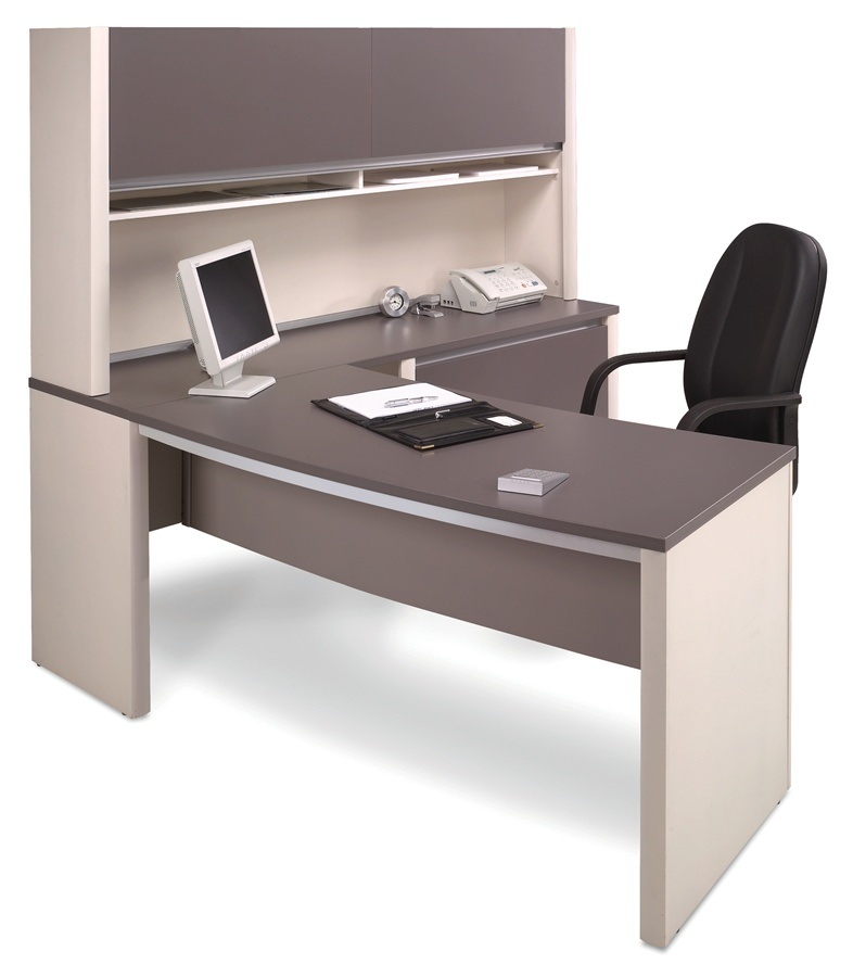 White Dark Grey Office Cabinet Attached Executive Table (HX-N0109)