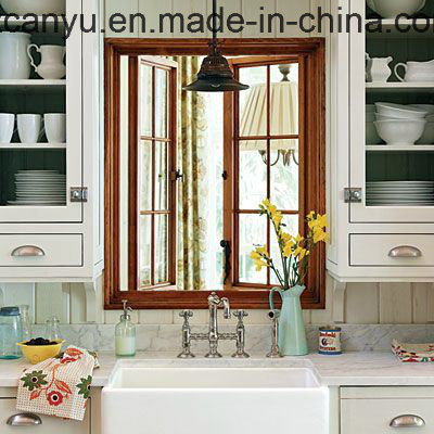 Customized Wood Color Double Glass Aluminum Casement Window