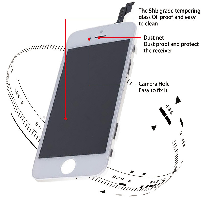 No Dead Pixel Touch Screen Mobile Phone LCD for iPhone 5g/5s/5c/5se LCD