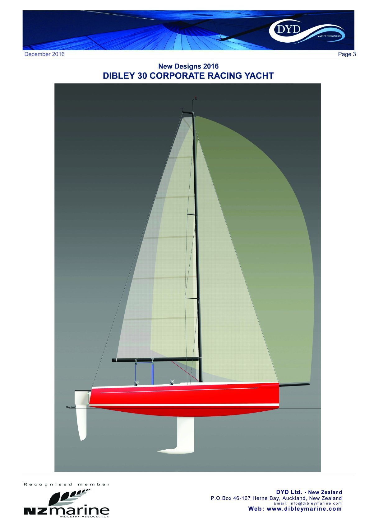 30′ Fiberglass Dibley Sailing Yacht Racing Yacht Sailboat Hangtong Factory-Direct