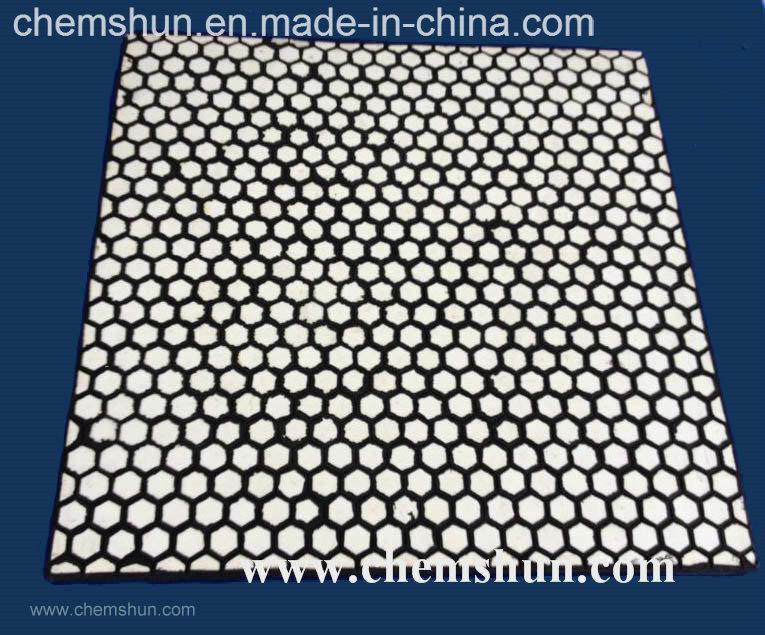 Impact Resistant Wear Ceramic Liner Vulcanized Hexagonal Tile (500*500mm)