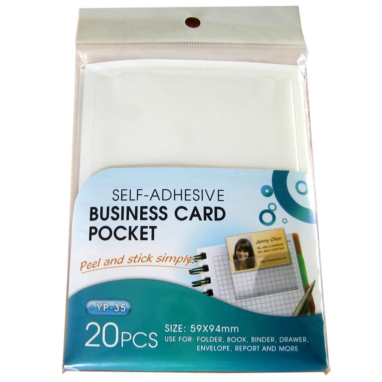 Self- Adhesive Business Card Pockets -Long Side