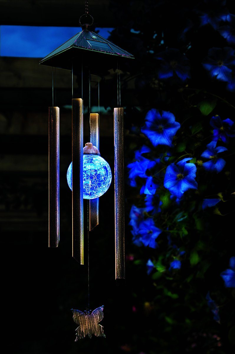 Solar Wind Chime Light with Colour Changing Glass Ball Garden