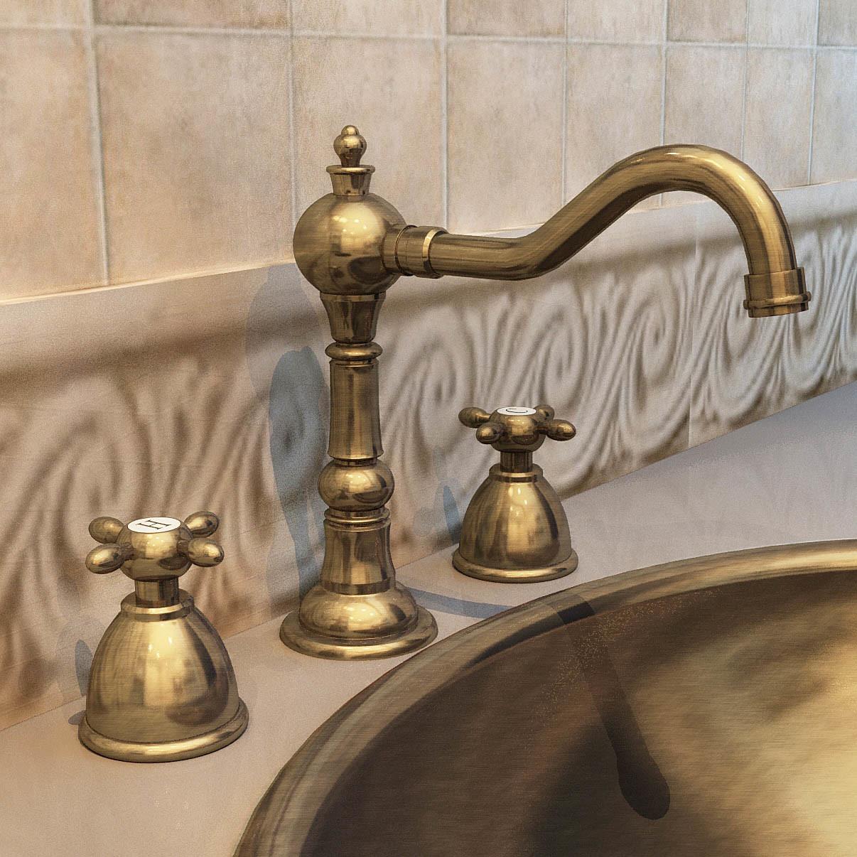 China Faucet Antique Gold Plated Faucet Double Handle Faucet Wr 502406 Photos Pictures