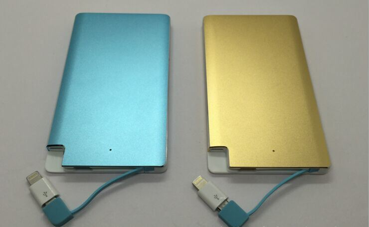 Colorful Metal 4000mAh Credit Card Power Bank with Mirco USB and Lightning Adapter