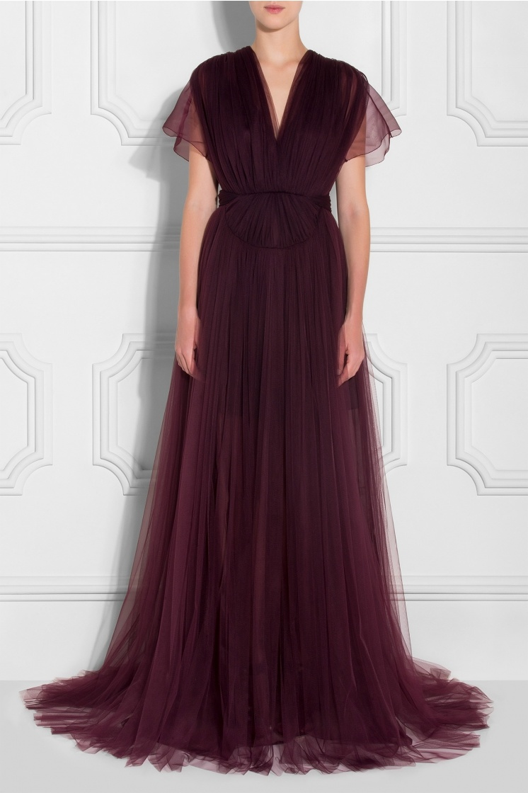 Embroidered Tulle Dress Ladies Evening Dress