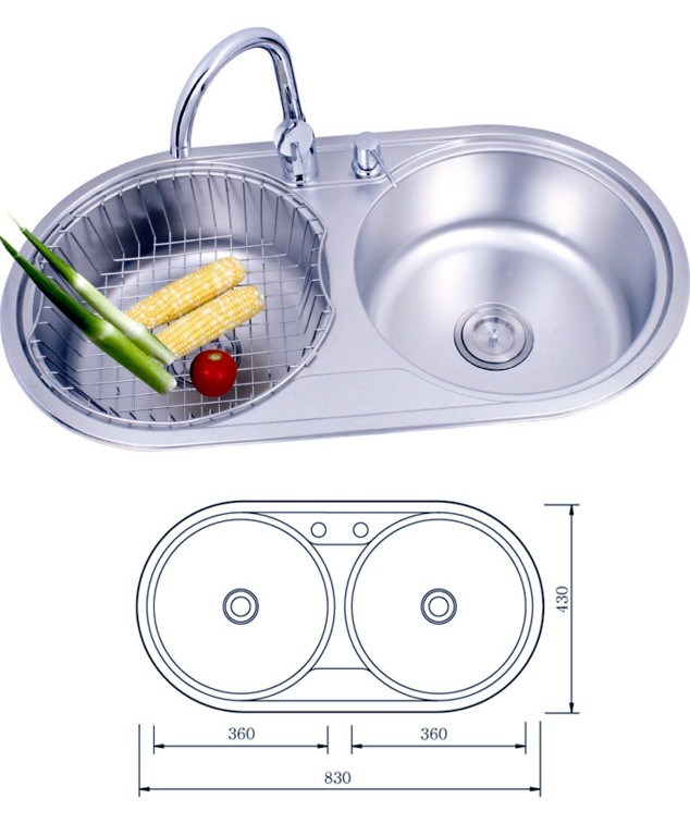 China Round Double Bowls Stainless Steel Kitchen Sink (8343E) - China ...
