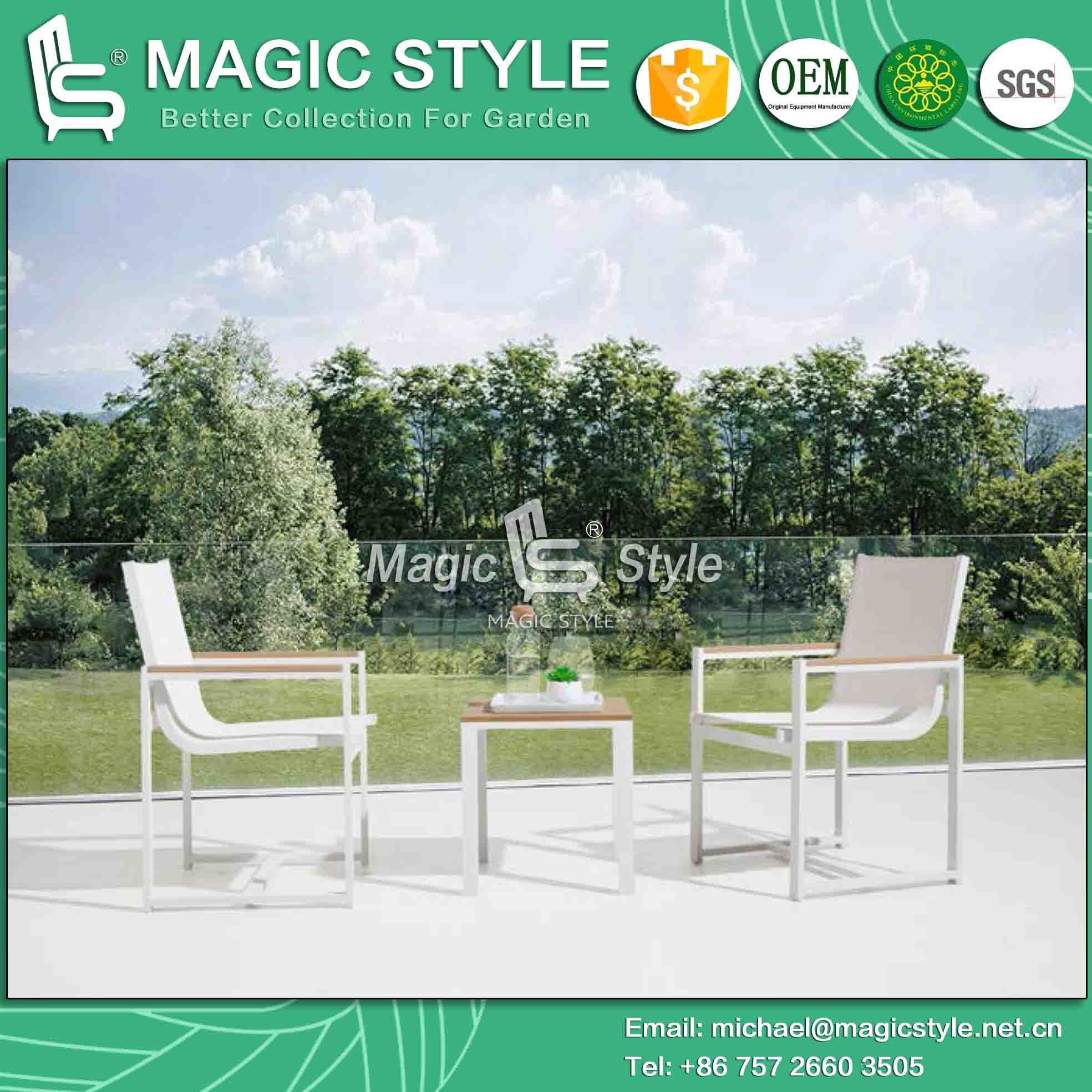 Outdoor Textile Chair with Plastic Slat Outdoor Coffee Table Garden Coffee Sling Chair Hotel Project Textile Armchair