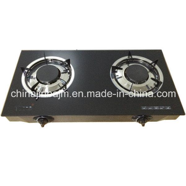 2 Burners Tempered Glass Top Brass 120mm Brass Burner Cooker/Gas Stove