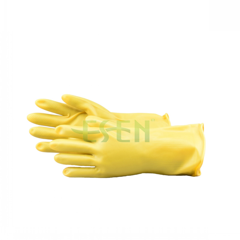 Rubber Glove-- Yellow Color Chemical Resistant Industrial Latex Rubber Work Gloves