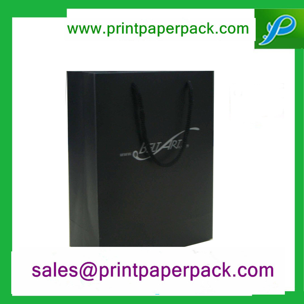 Custom Printed Black Luxury Paper Gift Cosmetic Shopping Bag