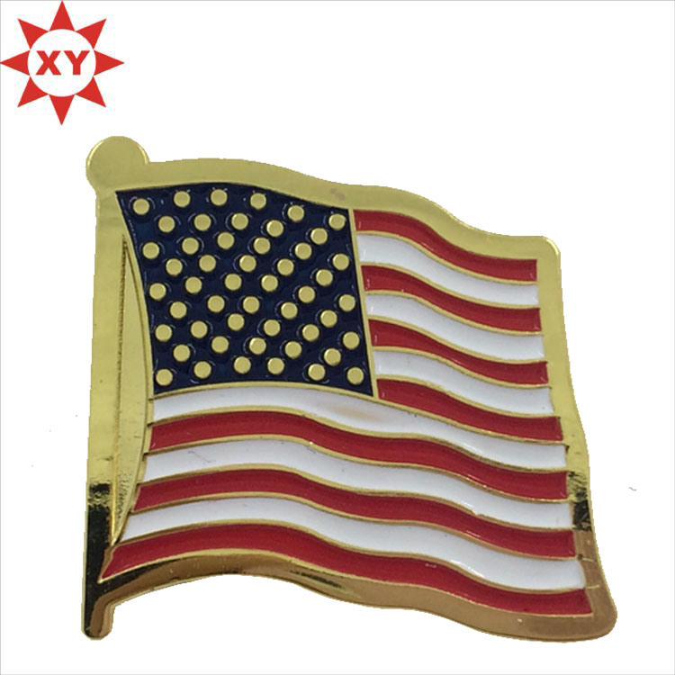 America Three Flag Soft Enamel Gold Lapel Pin Badge