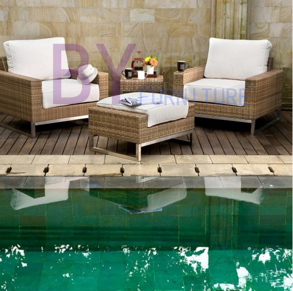 Wicker Cheap Poly Rattan Garden Furniture with Stainless Steel Feet
