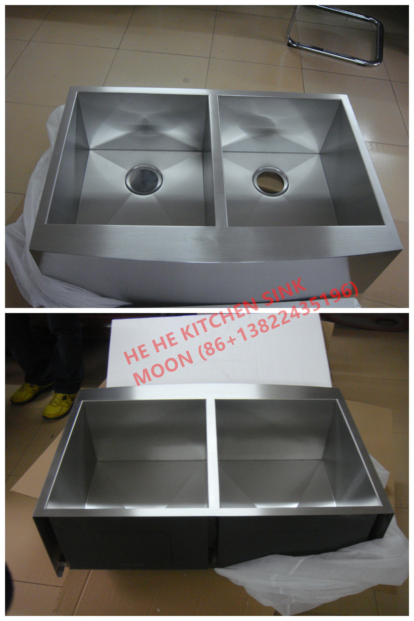 Handmade Sink, Square Apron Front Doube Handcrafted Sink, Hmad3322L