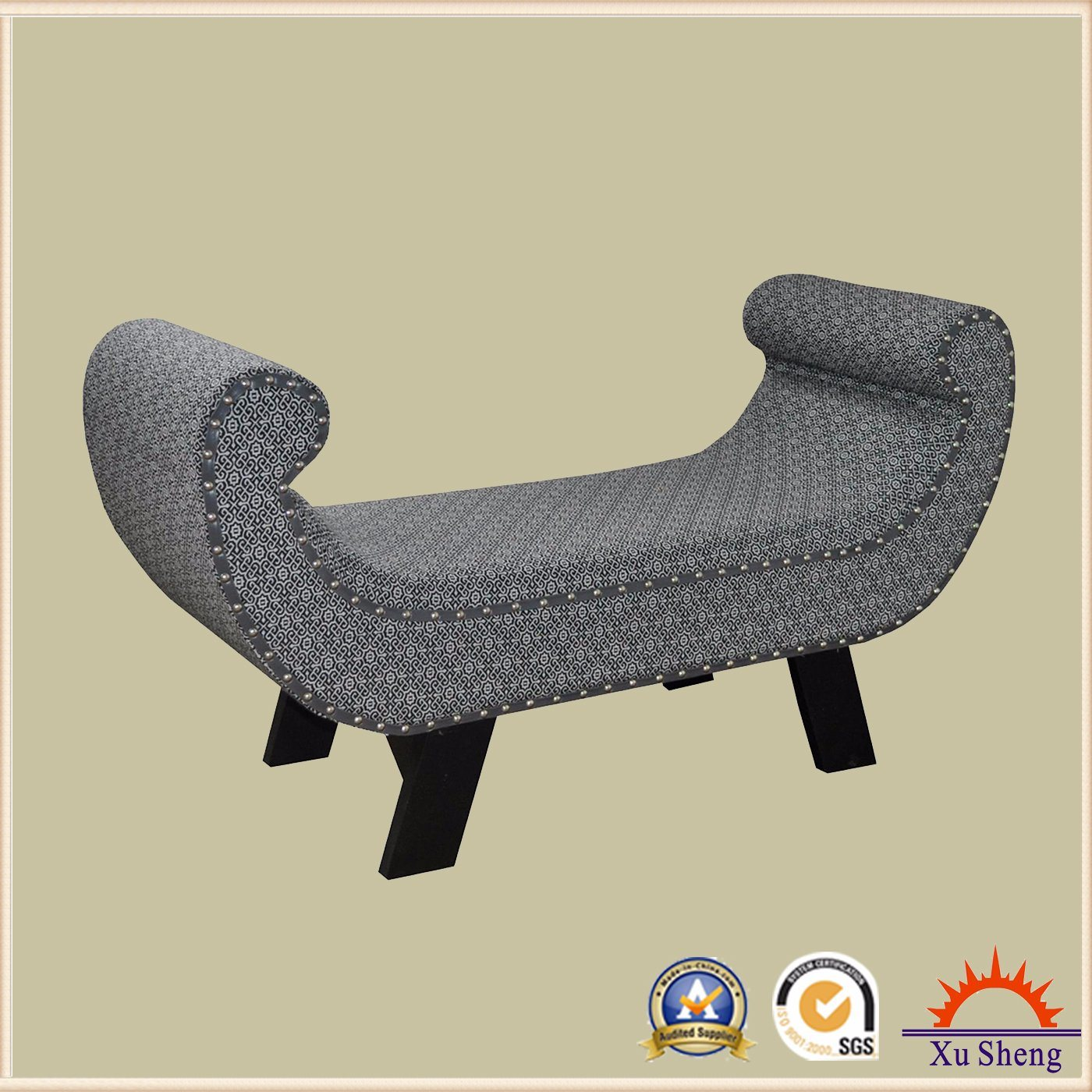 Entryway Upholstered Bench Armchair with Nailhead Trim