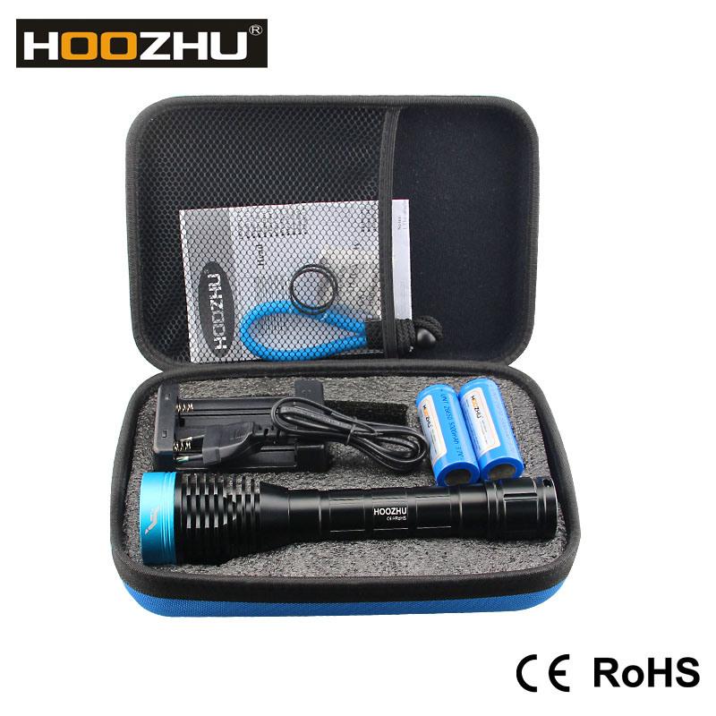 New Hoozhu D12 Dive Light Max 1000lm Waterproof 120 LED Flashlight