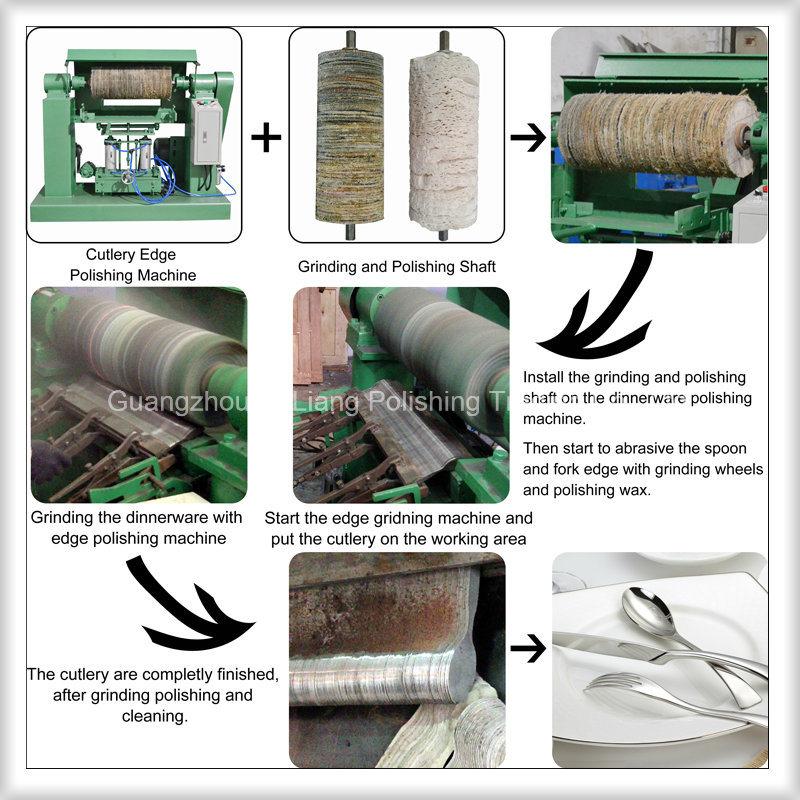 Stainless Steel Dinnerware Arc Edge Pneumatic Grinding Polishing Machine