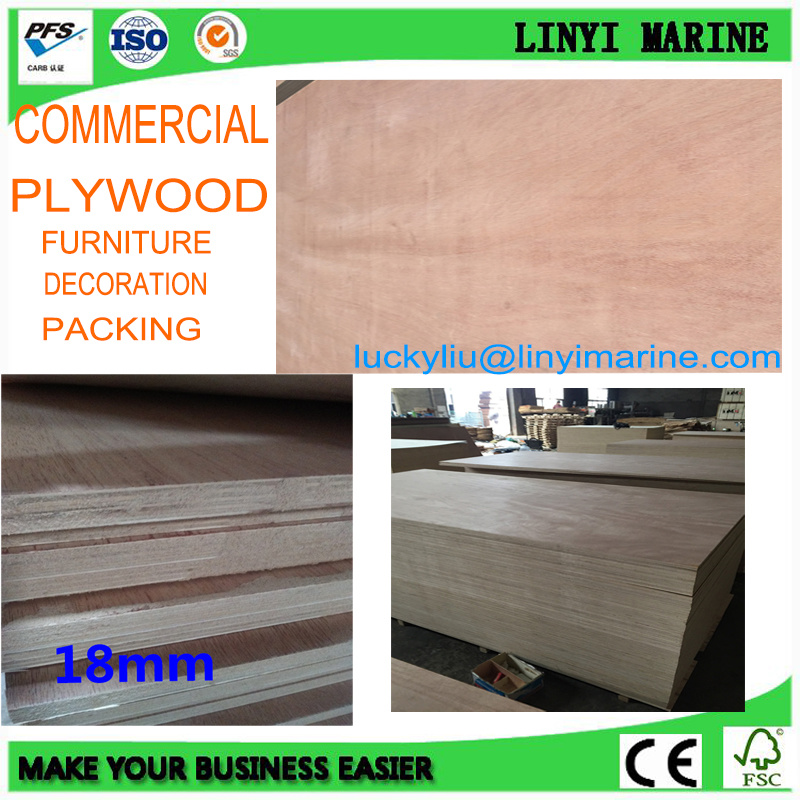 18mm BB/CC Grade Commercial Plywood Furniture, Decoration, Packing Plywood