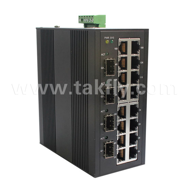 4*1000m SFP and 16*10/100m RJ45 10/100/1000m Industrial Ethernet Switch