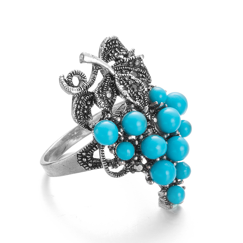 VAGULA Vintage Turqurse Grape Silver Women′s Ring
